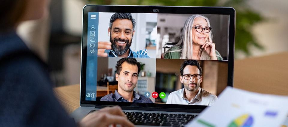 Screen showing a video conference